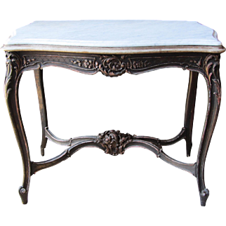 Antique French Carved Marble Top Table