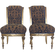 Pair of Antique Gold Giltwood Slipper Chairs