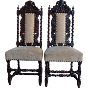 Antique Anglo-Indian Rococo Style Carved Chairs