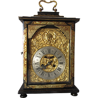 Antique Continental Japanned Table Clock-circa 1800