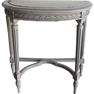 Antique Gustavian Painted Demi Lune Table