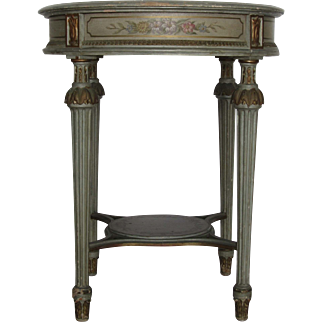 Antique Gustavian Round Painted Side Table