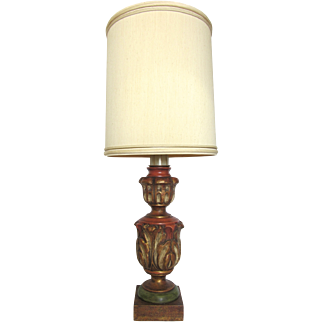 Marbro Mid-Century Acanthus Leaf Carved Lamp