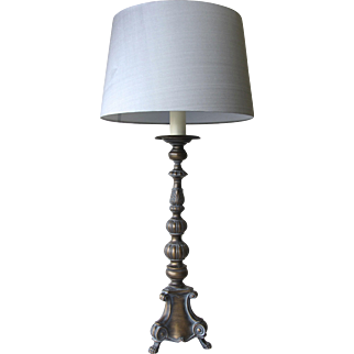 Vintage French Metal Claw Foot Lamp