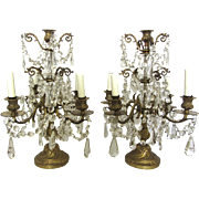 Pair of 19th Century French Brass & Crystal Girandoles