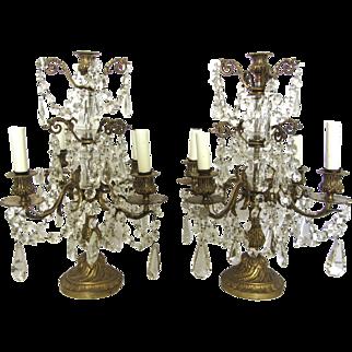 Pair of 19th Century French Brass & Crystal Girandoles