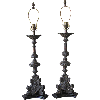 Pair of Antique Cast Metal Lamps with Claw Feet