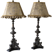 Pair of Antique Cast Metal Lamps with Fortuny Shades