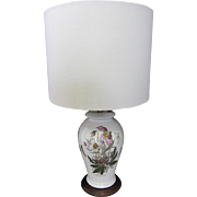 Vintage Botanical Porcelain Lamp