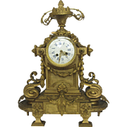 Louis XIV Style Gilt Bronze Mantel Clock c1895