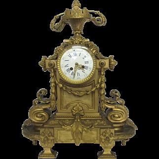Louis XIV Style Gilt Bronze Mantel Clock c1895