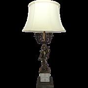 Vintage Bronze Cherub Candelabra Lamp