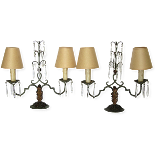 Pair of French Iron Lamps with Crystals-circa 1870