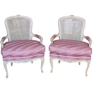 Cane Back Bergere Chairs in Rose Pleated Silk-Pair