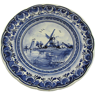 Vintage Signed Delft Windmill Plate