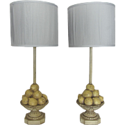 Vintage Pair of Lemon Compote Lamps