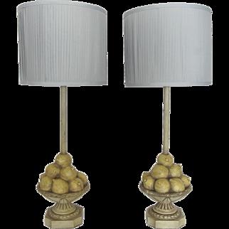 Vintage Pair of Lemon Compote Lamps