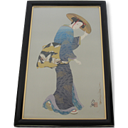 "Otsuka Signed Framed Lithograph- ""Otsu the Maiden"""