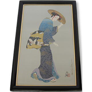 "Otsuka Signed Framed Lithograph- ""Otsu the Maiden"""