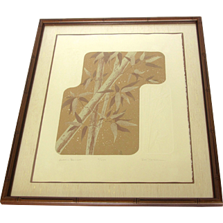 """""""Autumn Bamboo"""" Limited Edition Signed Serigraph with Embossing by Ken Nelson"""