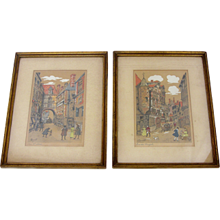 Pair of Antique Etchings by Alfred-Louis Brunet-Dubaines
