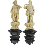 Pair of Vintage Ceramic Greek Wall Statues