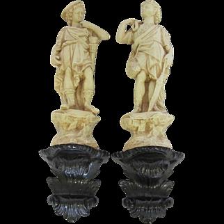 Pair of Vintage Ceramic Greek Wall Statues