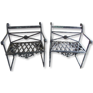 Antique French Scroll Iron Garden Benches