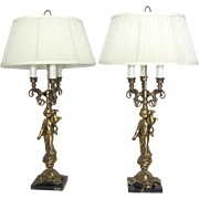 Pair of Vintage Brass Cherub Lamps