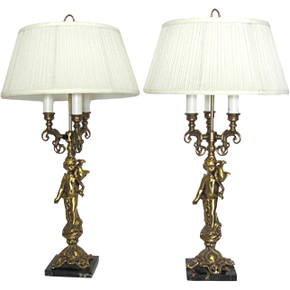 Pair of Vintage Brass Cherub Lamps