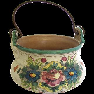 Antique Italian Painted Clay Pot