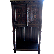 Gothic Revival Carved Oak Monastery Cabinet