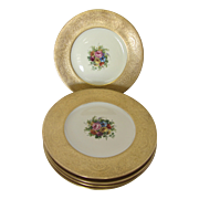 Atlas Gold Gilt Embossed Floral Bouquet Dinner Plates-Set of 6