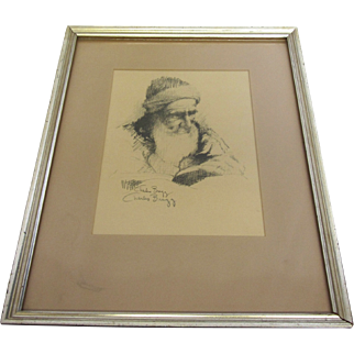 Charles Bragg Lithograph of Old Bearded Man