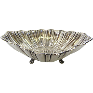 Reed & Barton Sterling Silver Oval Fluted Claw Footed Centerpiece Bowl