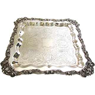 Large Rare Sheridan Square Silverplate Footed Serving Tray