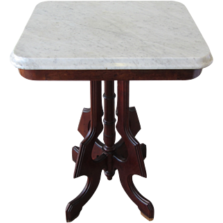 Victorian Mahogany Side Table with White Marble Top
