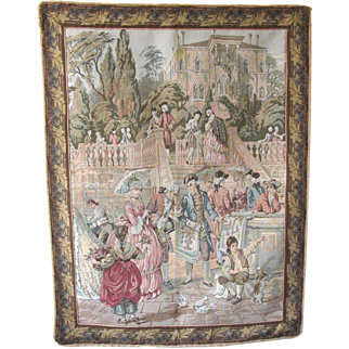 19th Century French Societé Tapestry with Hanging Rod