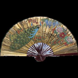 Large Vintage Painted Peacock Folding Fan