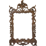 Italian Rococo Style Hand Carved Wood Mirror-Mid Century