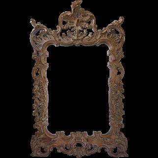 Italian Rococo Style Hand Carved Wood Mirror-Mid Century