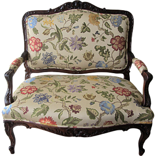 Antique French Carved Floral Settee
