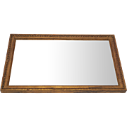 Antique Wood Rectangular Gold Ribbon Mirror