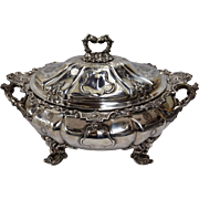 Rare Neoclassical Silver-Plated Tureen with Liner