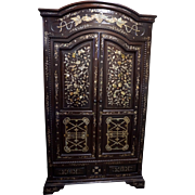 20th Century French Colonial Cabinet with Mother of Pearl Inlay