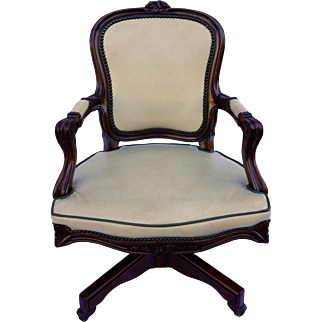 Vintage French Bergere Leather Swivel Desk Chair