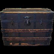 19th Century Antique Wood & Iron Trunk