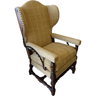 Antique Continental Reclining Wing Armchair-Circa 1680