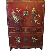Early 20th Century Chinese Red Lacquer & Gilt Cabinet