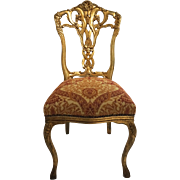 French Antique Louis XV Style Giltwood Vanity Chair